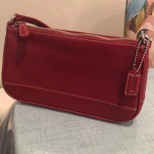 Coach genuine deep red leather purse
